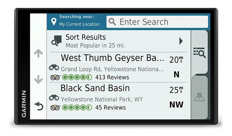 The Garmin 770 LMT-D offers a campsite and POI search engine