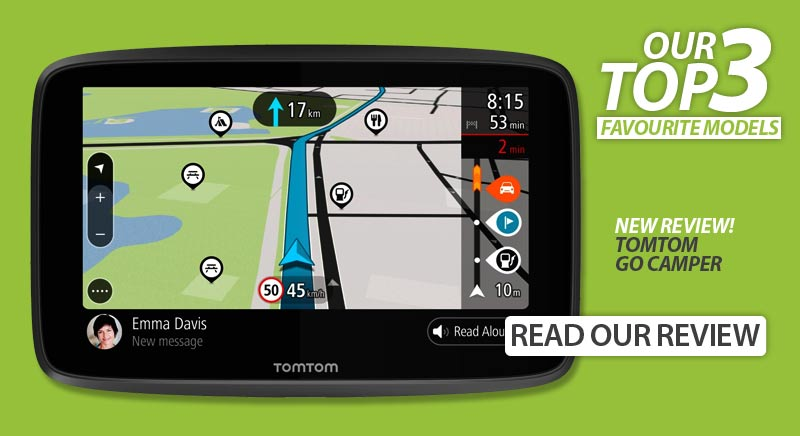 The New TomTom GO Camper is on our list of best motorhome and caravan sat navs
